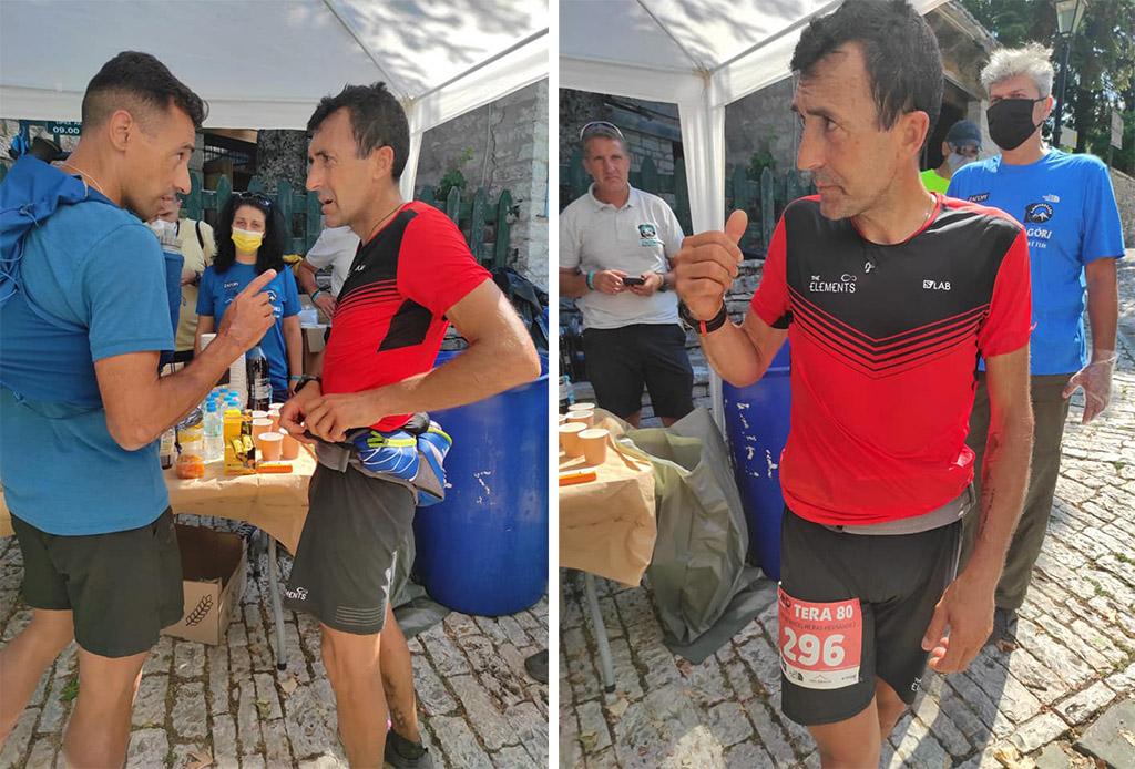 Miguel Heras Tera 80k Zagori Mountain Race 2021 Στο Μονοδένδρι με τον Θεοδωρακάκο.