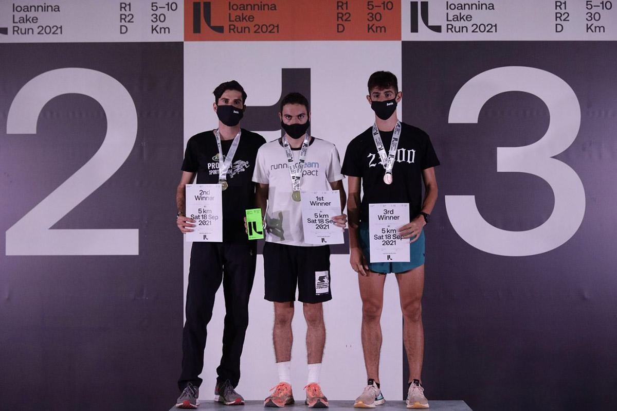 Απονομές Ανδρών 5χλμ Ioannina Lake Run 2021